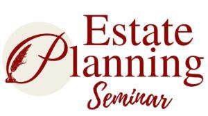 "This Pierchoski Estate Law seminar logo reads ""Estate Planning Seminar"" and there is a red quill laid into the ""P"""